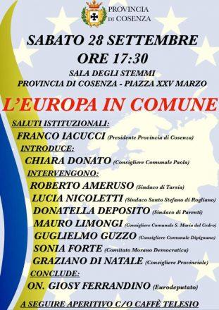 Sabtato 28 Settembre: L'Europa in Comune