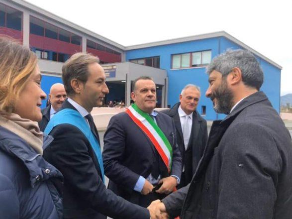 DI NATALE ACCOGLIE IL PRESIDENTE DELLA CAMERA DEI DEPUTATI ROBERTO FICO